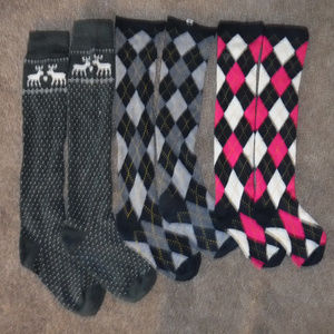 Abercrombie & Fitch 3 Pair Bundle Knee High Socks